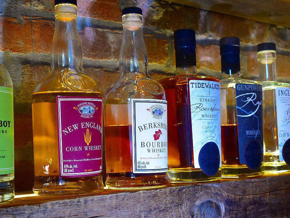 restaurant assortment of local spirits bottles on a tablet rogue island local kitchen and bar providence rhode island united states ulocal local products local purchase local produce locavore tourist