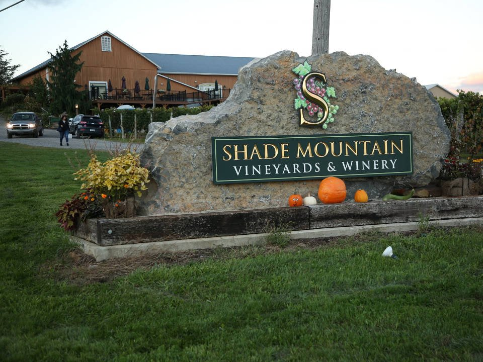 vineyards outdoor vineyard sign with winery and terrace shade mountain winery and vineyards middleburg pennsylvania united states ulocal local products local purchase local produce locavore tourist
