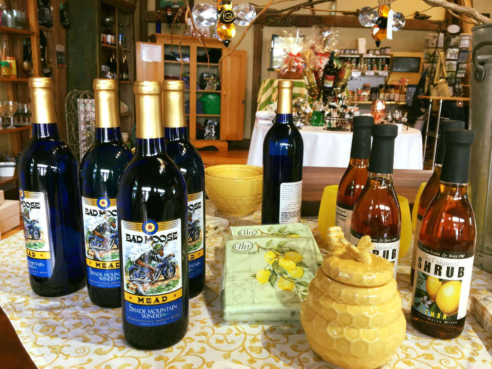 vineyards assortment of wine bottles in the vineyard shop shade mountain winery and vineyards middleburg pennsylvania united states ulocal local products local purchase local produce locavore tourist