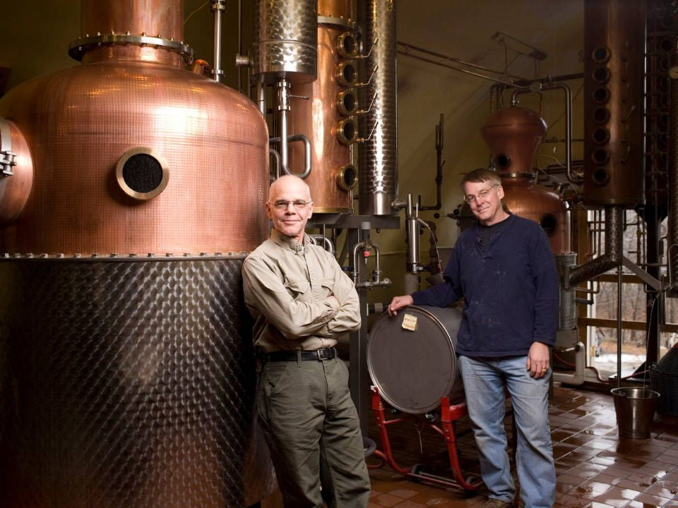 liquor 2 men in the production of the distillery with copper tanks tuthilltown distillery gardiner new york united states ulocal local products local purchase local produce locavore tourist
