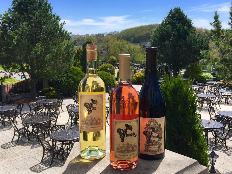 vineyards 3 bottles of wine from the vineyard with terrace in the background vinoski winery belle vernon pennsylvania united states ulocal local products local purchase local produce locavore tourist