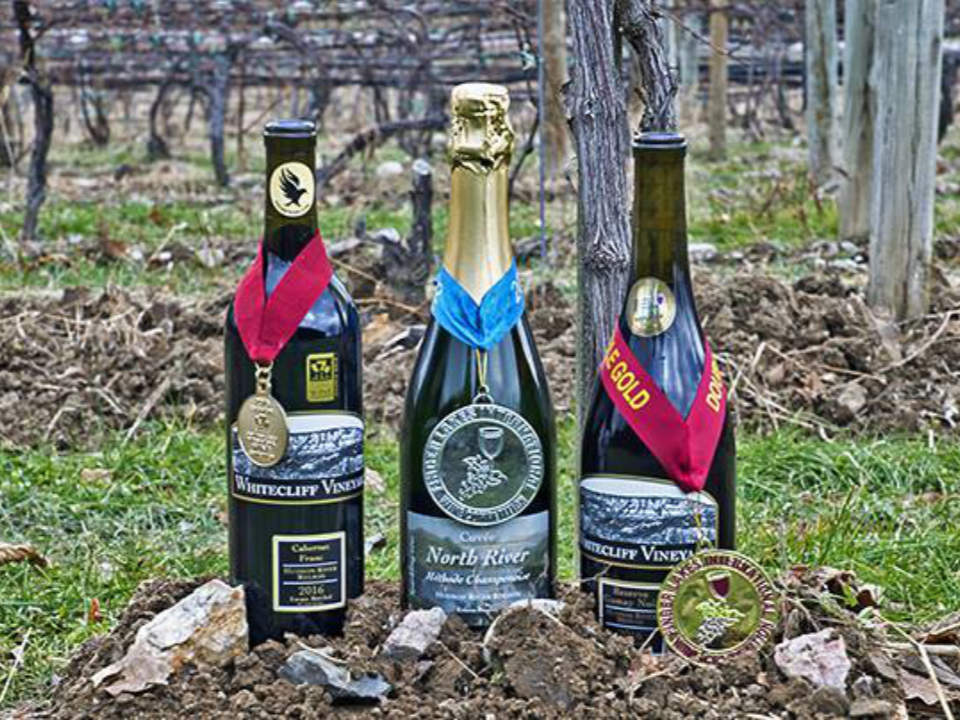 vineyards 3 bottles of wine awarded in the dried vines whitecliff vineyard and winery gardiner new york united states ulocal local products local purchase local produce locavore tourist