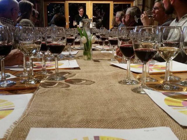 vineyards tasting several glasses of wine on the table with customers willow spring vineyards haverhill massachusetts united states ulocal local products local purchase local produce locavore tourist