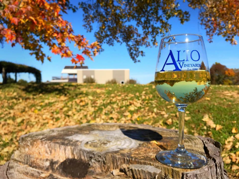 vineyards glass of white wine on a stump of wood with view of the winery in autumn alto vineyards alto pass illinois united states ulocal local products local purchase local produce locavore tourist
