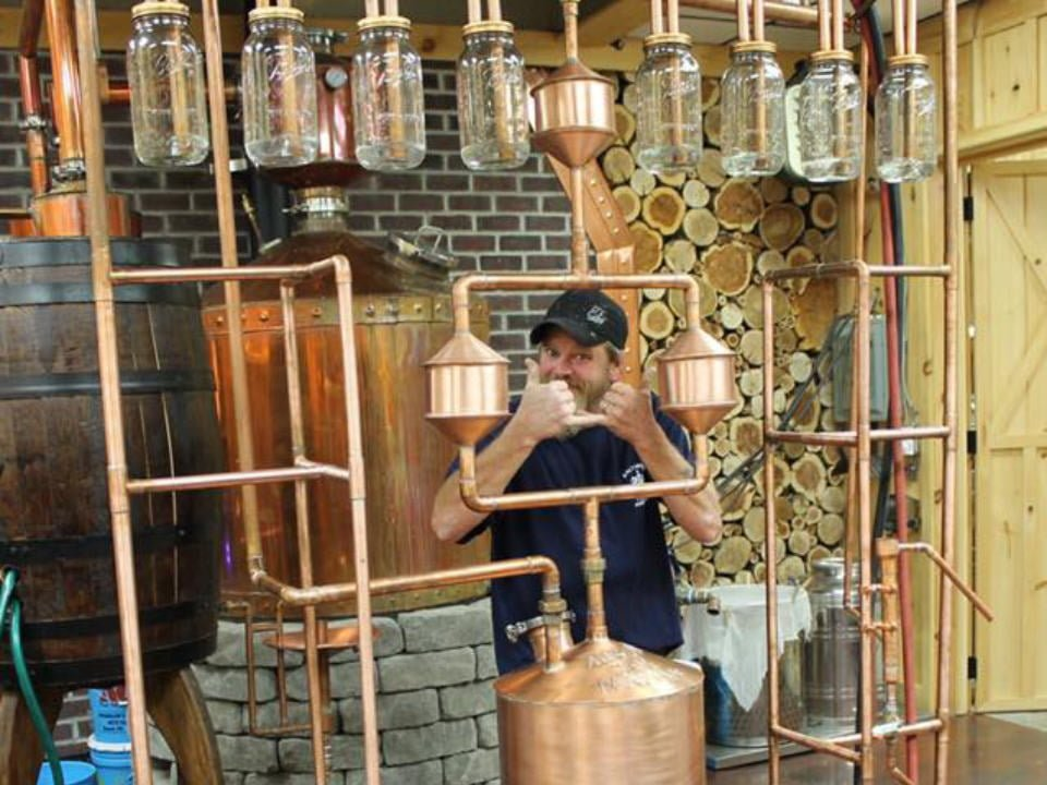 liquor distiller behind the pipes of the still bald hills distillery dover pennsylvania united states ulocal local products local purchase local produce locavore tourist