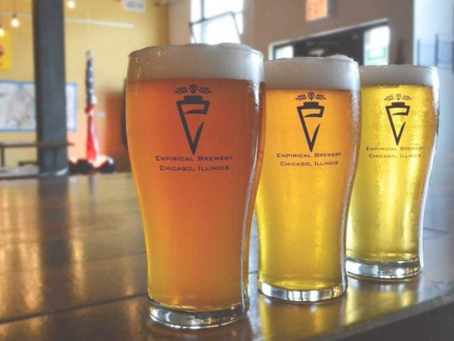 microbreweries 3 glasses of craft blond and red beer on the bar empirical brewery chicago illinois united states ulocal local products local purchase local produce locavore tourist