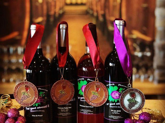 vineyards assortment of award-winning wine bottles from the vineyard fergedaboudit vineyard and winery hanover illinois united states ulocal local products local purchase local produce locavore tourist