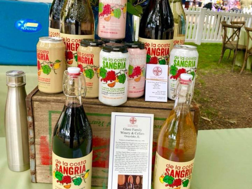 vineyards display of wine and sangria in cans and bottles with various flavors glunz family winery and cellars grayslake illinois united states ulocal local products local purchase local produce locavore tourist