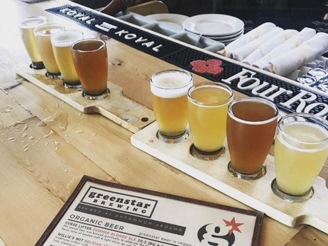 microbrasserie verres de bière artisanale en échantillon sur le bar avec menu greenstar brewing edgewater chicago illinois états unis ulocal produits locaux achat local produits du terroir locavore touriste