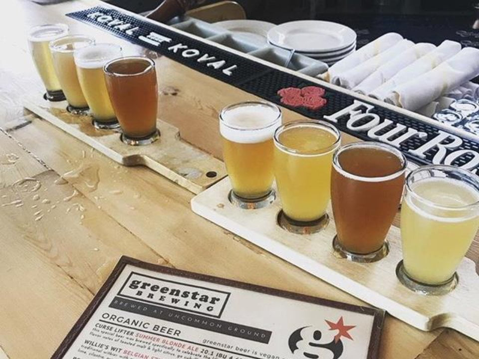 microbreweries glasses of craft beer in sample on the bar with menu greenstar brewing lakeview chicago illinois united states ulocal local products local purchase local produce locavore tourist