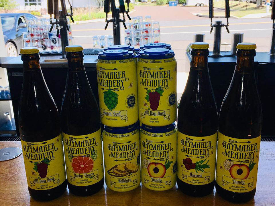 vineyards 4 bottles and 4 cans of mead on the bar near the window haymaker meadery lansdale pennsylvania united states ulocal local products local purchase local produce locavore tourist