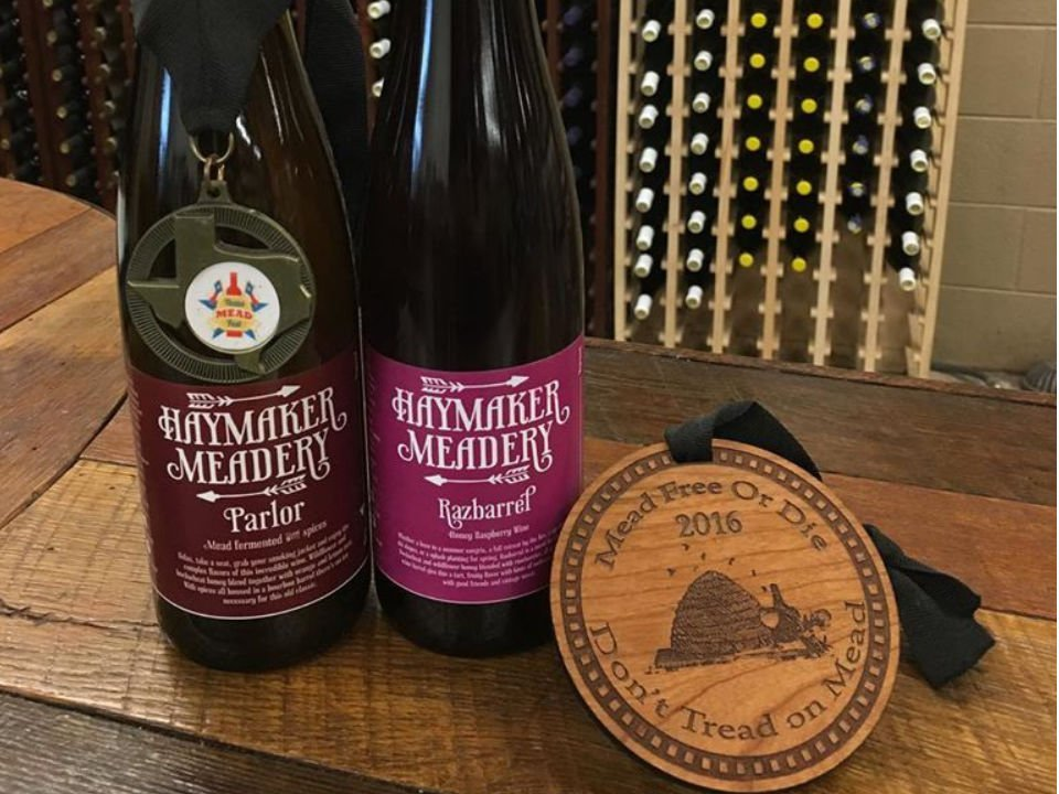 vineyards award-winning razbarrel bottle and award-winning parlor bottle haymaker meadery lansdale pennsylvania united states ulocal local products local purchase local produce locavore tourist