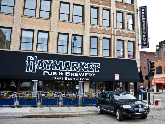 microbreweries front of the brewery with logo awning and terrace with suv parked in front haymarket pub and brewery chicago illinois united states ulocal local products local purchase local produce locavore tourist