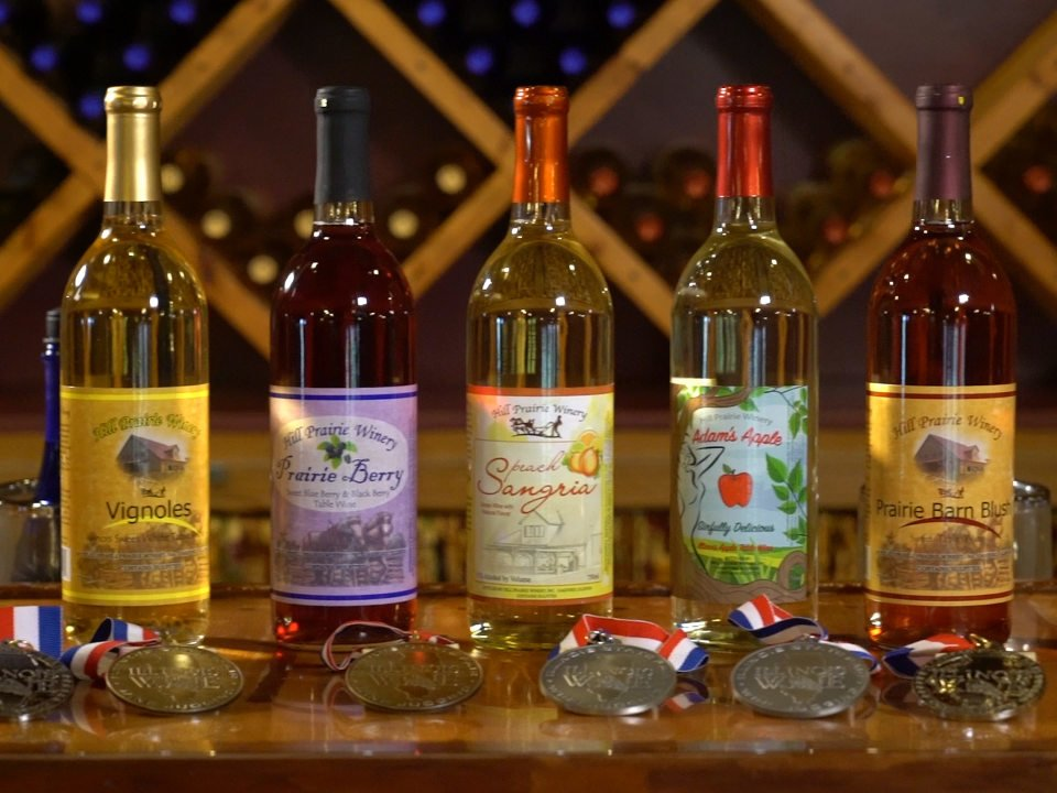 vineyards assortment of award-winning wine bottles from the vineyard hill prairie winery oakford illinois united states ulocal local products local purchase local produce locavore tourist