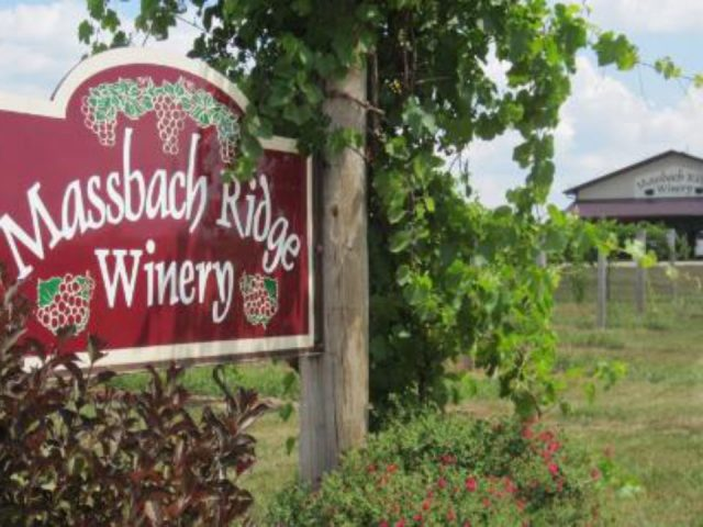 vineyards outdoor sign on the side of the road with the winery massbach ridge vineyard and winery elizabeth illinois united states ulocal local products local purchase local produce locavore tourist