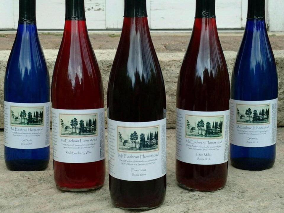 vignoble assortiment de bouteilles de vin du vignoble mceachran homestead winery caledonia illinois états unis ulocal produits locaux achat local produits du terroir locavore touriste