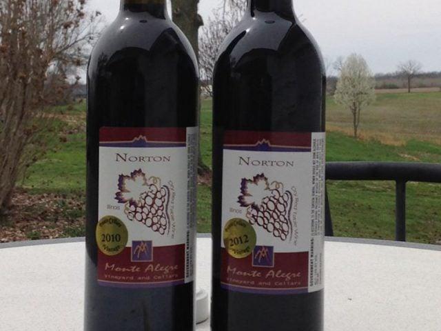 vignoble 2 bouteilles de vin sur une table de la terrasse avec terrain en arrière plan monte alegre vineyard carbondale illinois états unis ulocal produits locaux achat local produits du terroir locavore touriste