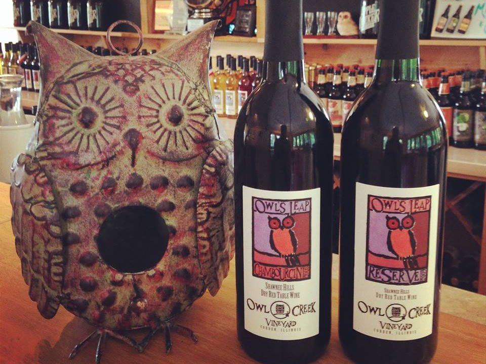 vineyards 2 bottles of wine from the vineyard with an owl statue in pottery on the tasting bar owl creek vineyard cobden illinois united states ulocal local products local purchase local produce locavore tourist