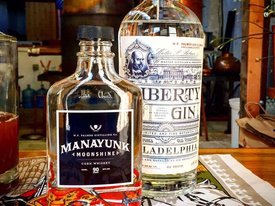 liquor bottle of liberty gin and manayunk moonshine palmer distilling co philadelphia pennsylvania united states ulocal local products local purchase local produce locavore tourist