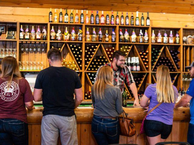 vignoble barman souriant avec clients au bar de dégustation avec présentoir de vin mural pheasant hollow winery whittington illinois états unis ulocal produits locaux achat local produits du terroir locavore touriste