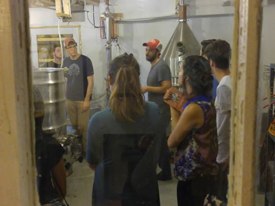 liquor guided tour of the distillery with visitors red brick craft distillery philadelphia pennsylvania united states ulocal local products local purchase local produce locavore tourist