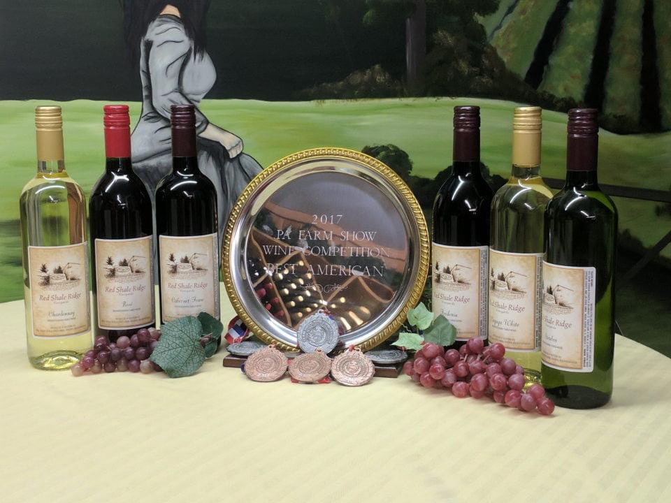 vignoble assortiment de bouteilles de vin primées en 2017 sur une table red shale ridge vineyards hegins pennsylvanie états unis ulocal produits locaux achat local produits du terroir locavore touriste