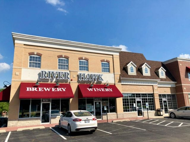 microbreweries exterior facade with red awnings and parking river hawk brewing channahon illinois united states ulocal local products local purchase local produce locavore tourist