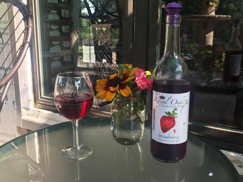 vignoble bouteille et verre de vin aux fraises sur une table de la terrasse royal oaks vineyard and winery lebanon pennsylvanie états unis ulocal produits locaux achat local produits du terroir locavore touriste