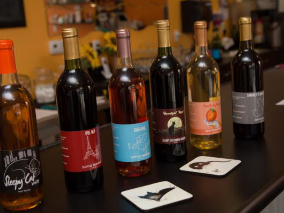 vineyards assortment of wine from the vineyard on the bar sleepy cat urban winery allentown pennsylvania united states ulocal local products local purchase local produce locavore tourist