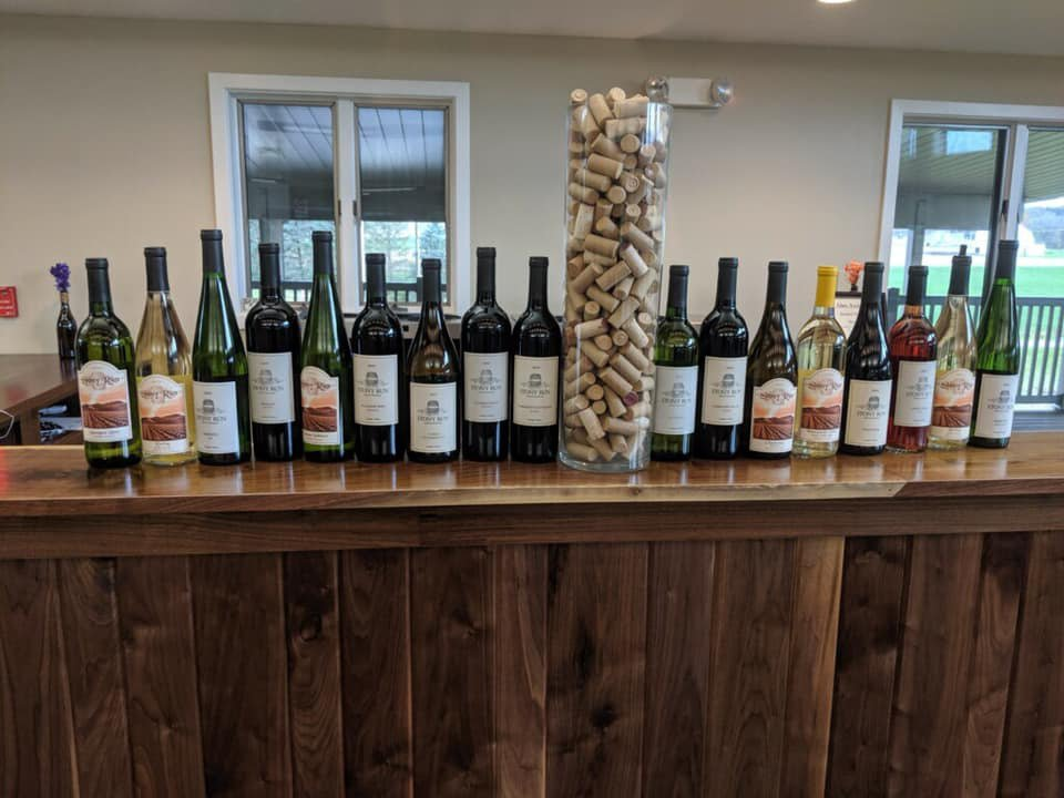 vineyards assortment of wine bottles from the vineyard on the tasting bar stony run the cellar breinigsville pennsylvania united states ulocal local products local purchase local produce locavore tourist