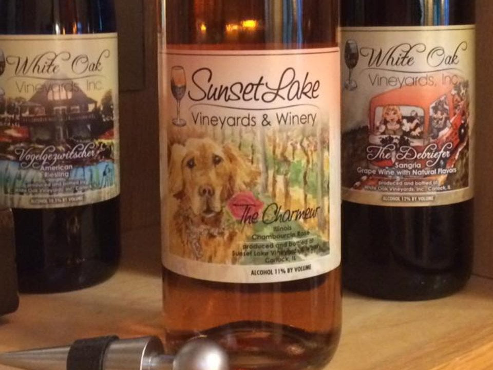 vineyards 3 varied bottles of wine from the vineyard sunset lake vineyards and winery carlock illinois united states ulocal local products local purchase local produce locavore tourist