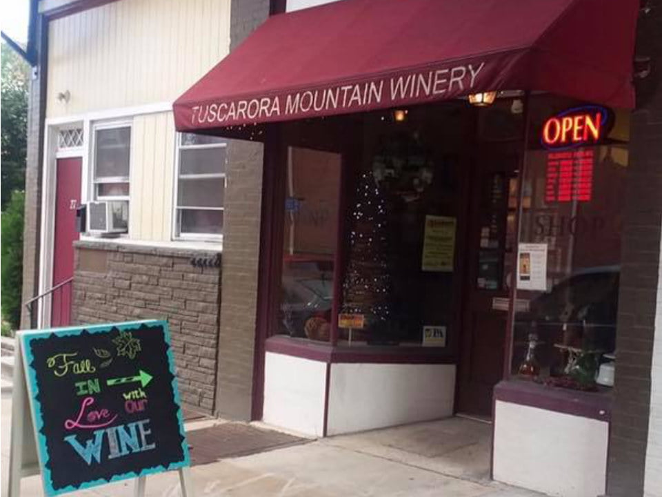 vineyards outdoor facade of the shop with a small roof logo burgundy tuscarora mountain winery chambersburg pennsylvania united states ulocal local products local purchase local produce locavore tourist