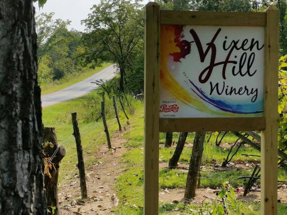 vineyards outdoor sign on the side of the road in the vineyards vixen hill winery palmyra illinois united states ulocal local products local purchase local produce locavore tourist