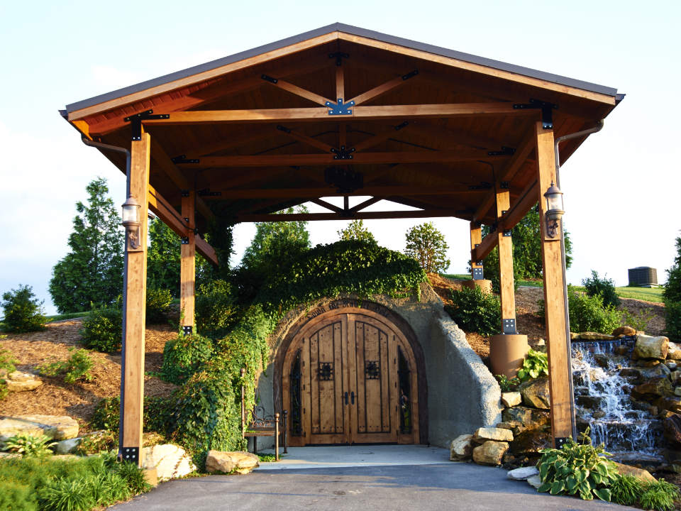 vineyards hobbit style wine cellar door with small wooden roof and waterfall to the right walkers bluff vineyard carterville illinois united states ulocal local products local purchase local produce locavore tourist