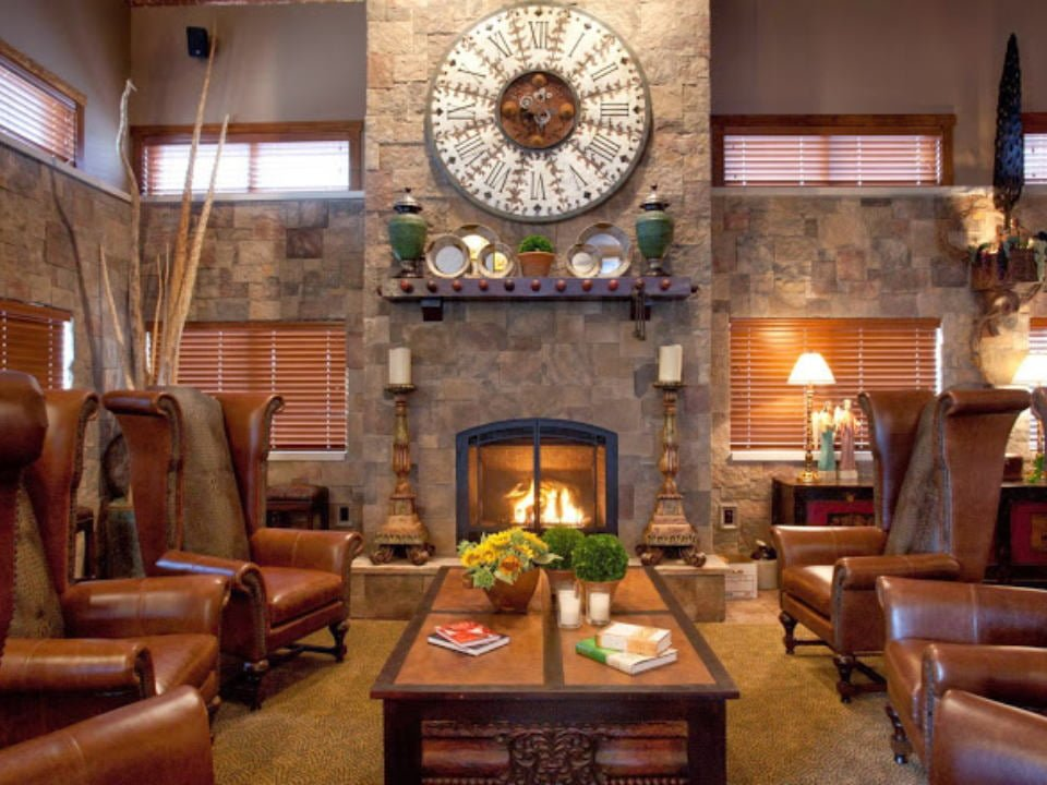 vineyards living room for tastings with large chic leather armchairs with walls and field stone fireplace walkers bluff vineyard carterville illinois united states ulocal local products local purchase local produce locavore tourist