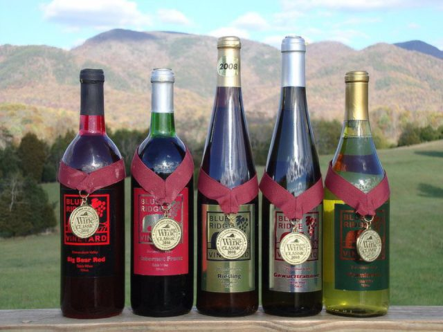 vineyards assortment of award winning wine bottles from the vineyard blue ridge vineyard eagle rock virginia united states ulocal local products local purchase local produce locavore tourist