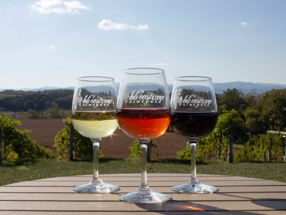 vineyards 3 glasses of white and rosé red wine tasting on a terrace table in front of the vines bluestone vineyard bridgewater virginia united states ulocal local products local purchase local produce locavore tourist