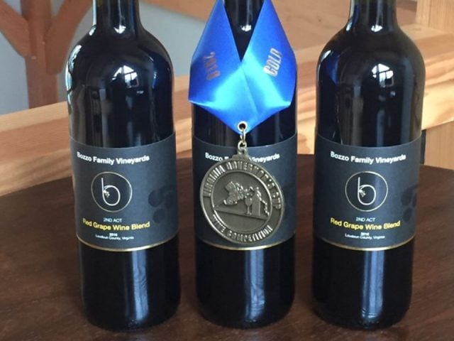 vineyards 3 bottles of award-winning red wine from the vineyard bozzo family vineyards purcellville virginia united states ulocal local products local purchase local produce locavore tourist