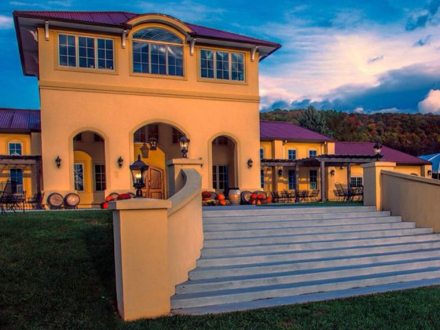 vineyards Tuscan style winery with purple roof and terrace and large staircase breaux vineyards purcellville virginia united states ulocal local products local purchase local produce locavore tourist