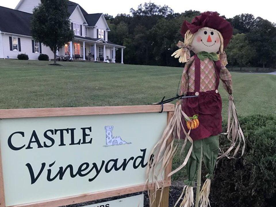 vignoble panneau enseigne du vignoble avec poupée de foin et vue de l'établissement vinicole castle vineyards luray virginie états unis ulocal produits locaux achat local produits du terroir locavore touriste