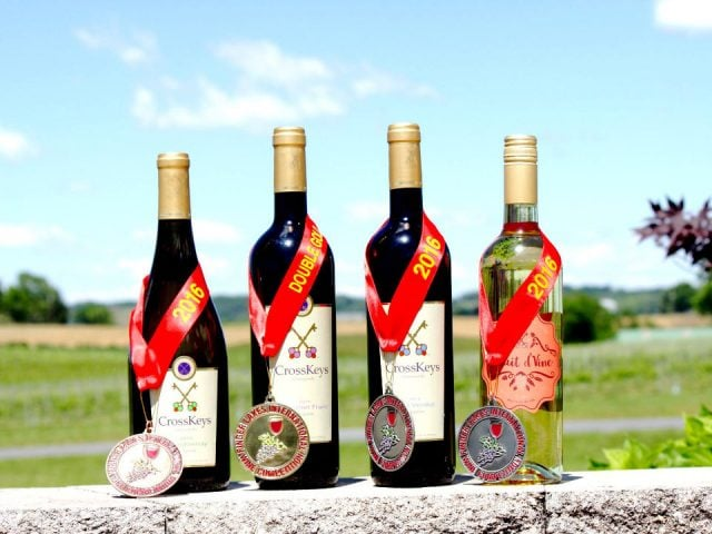 vineyards assortment of 4 award-winning outdoor wine bottles crosskeys vineyards and estates mount crawford virginia united states ulocal local products local purchase local produce locavore tourist