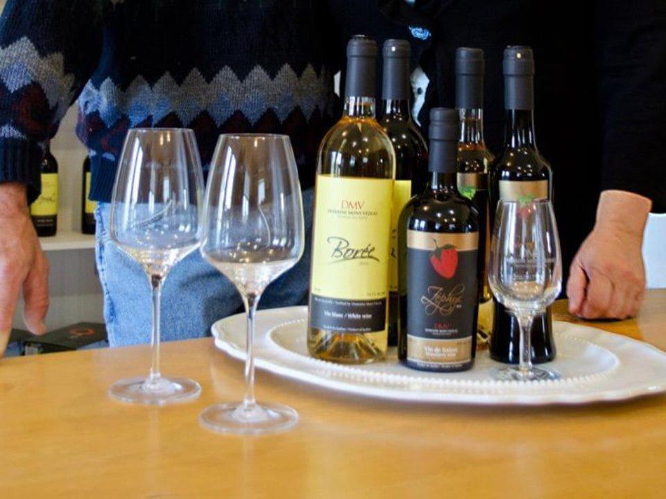 vignoble plateau avec verres et bouteilles de vin domaine du mont-vezeau ripon quebec canada ulocal produits locaux achat local produits du terroir locavore touriste