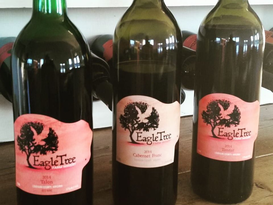 vineyards assortment of 3 bottles of wine on shelf eagletree farm and vineyards leesburg virginia united states ulocal local products local purchase local produce locavore tourist