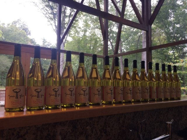 vignoble assortiment de bouteilles de vin sur une tablette dans une verrière gabriele rausse winery charlottesville virginie états unis ulocal produits locaux achat local produits du terroir locavore touriste