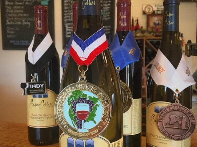 vineyards assortment of award-winning bottles of wine at the tasting bar gadino cellars washington virginia united states ulocal local products local purchase local produce locavore tourist