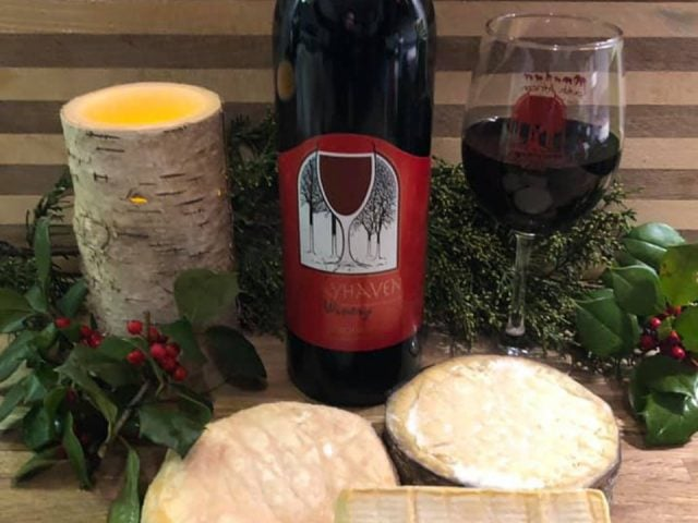 vineyards bottle and glass of red wine with artisan cheeses grayhaven winery gum spring virginia united states ulocal local products local purchase local produce locavore tourist