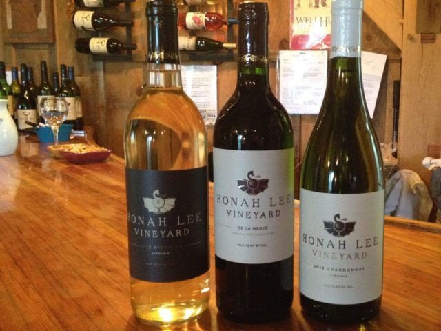 vineyards assortment of 3 bottles of wine at the tasting bar honah lee vineyard gordonsville virginia united states ulocal local products local purchase local produce locavore tourist