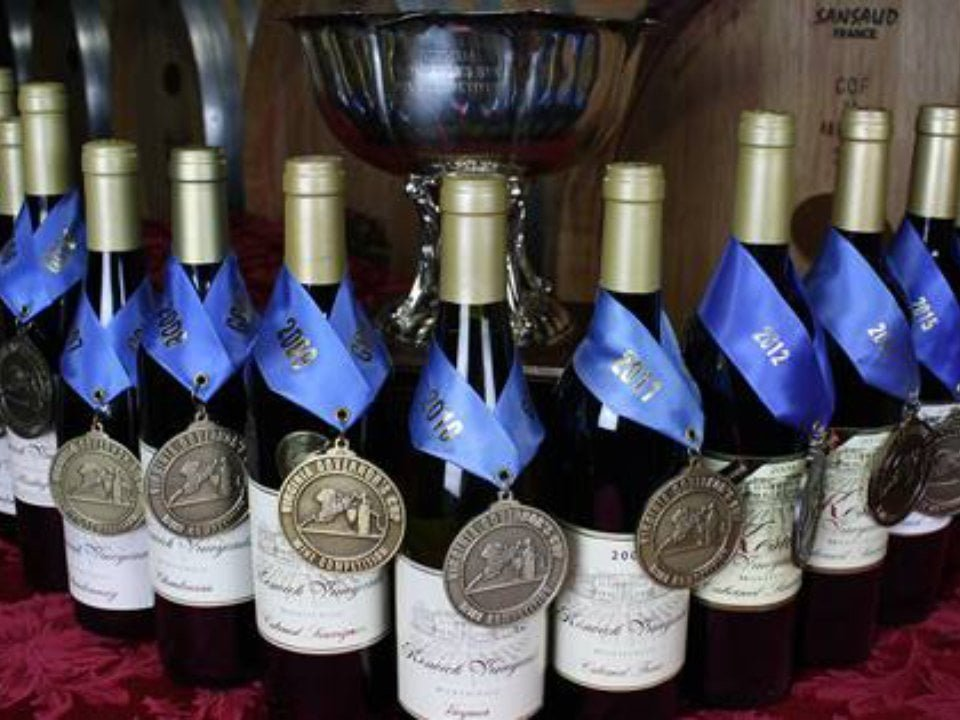 vineyards award winning wine bottles on a table with trophy keswick vineyards keswick virginia united states ulocal local products local purchase local produce locavore tourist