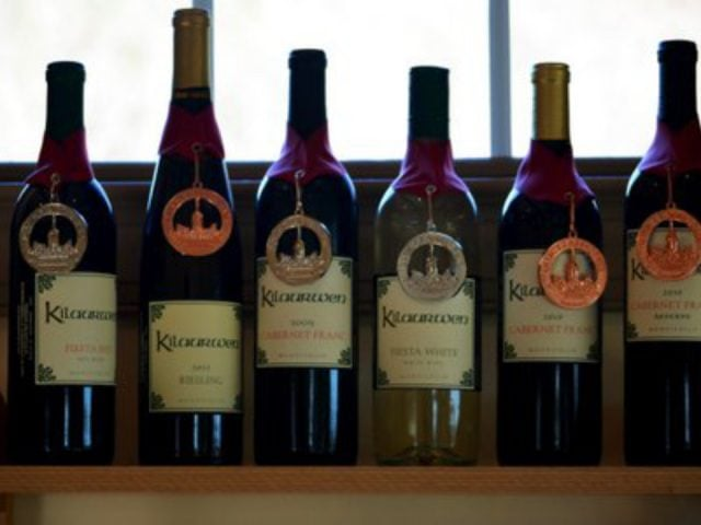 vineyards award winning wine bottles on a table kilaurwen winery stanardsville virginia united states ulocal local products local purchase local produce locavore tourist