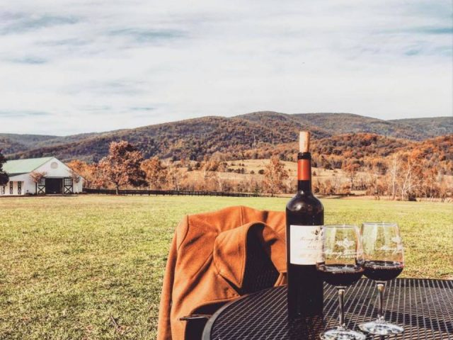 vineyards bottle and 2 glasses of red wine on an outdoor table on the estate with winery and view of mountains in autumn colors king family vineyards crozet virginia united states ulocal local products local purchase local produce locavore tourist